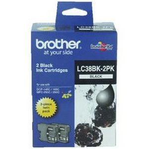 Brother LC-38BK-2PK Inkjet Cartridge - Twin Pack- GENUINE