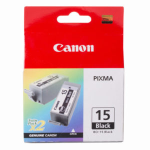 Canon BCI-15BK Black Ink Tank - 2 per pack - 150 pages each